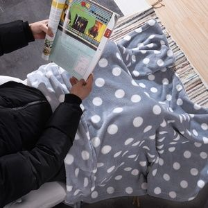 Other - *NIB* Wine/White Dots Plush Blanket